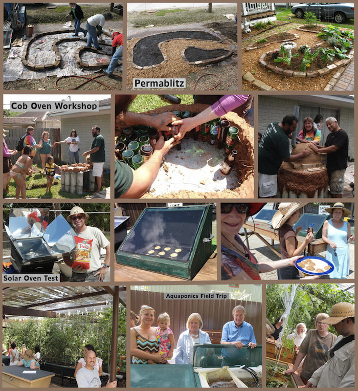 Permablitz collage of activities and images